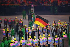 Olympic team Germany marched into the Rio 2016 Olympics opening ceremony Stock Image