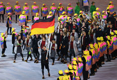 Olympic team Germany marched into the Rio 2016 Olympics opening ceremony Stock Photos