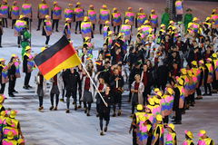 Olympic team Germany marched into the Rio 2016 Olympics opening ceremony. RIO DE JANEIRO, BRAZIL - AUGUST 5, 2016: Olympic team Germany marched into the Rio 2016 Royalty Free Stock Photo