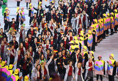 Olympic team Germany marched into the Rio 2016 Olympics opening ceremony Stock Images
