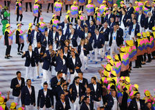 Olympic team Greece marched into the Rio 2016 Olympics opening ceremony at Maracana Stadium in Rio de Janeiro Royalty Free Stock Images