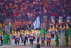 Olympic team Greece marched into the Rio 2016 Olympics opening ceremony at Maracana Stadium in Rio de Janeiro Stock Photos