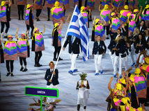 Olympic team Greece marched into the Rio 2016 Olympics opening ceremony at Maracana Stadium in Rio de Janeiro Royalty Free Stock Photography