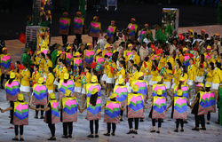 Olympic team The People`s Republic of China marched into the Rio 2016 Olympics opening ceremony. RIO DE JANEIRO, BRAZIL - AUGUST 5, 2016: Olympic team The People Stock Images