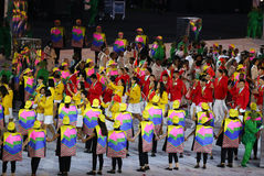 Olympic team The People`s Republic of China marched into the Rio 2016 Olympics opening ceremony. RIO DE JANEIRO, BRAZIL - AUGUST 5, 2016: Olympic team The People Royalty Free Stock Photos