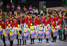 Olympic team The People`s Republic of China marched into the Rio 2016 Olympics opening ceremony. RIO DE JANEIRO, BRAZIL - AUGUST 5, 2016: Olympic team The People Stock Photography
