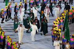 Olympic team Saudi Arabia marched into the Rio 2016 Olympics opening ceremony Stock Photo