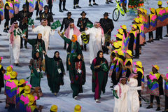 Olympic team Saudi Arabia marched into the Rio 2016 Olympics opening ceremony Stock Image