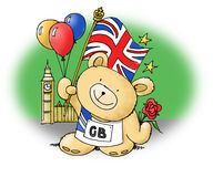 Olympic Teddy Bear. 2012 Olympics sports Teddy Bear with balloons and Team GB top Royalty Free Stock Image