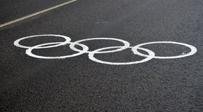 Olympic Temporary markings on a dedicated lane for accredited transport Royalty Free Stock Photos