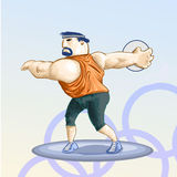 Olympic toons - Discus. Olympic games theme Detailed Vector Illustration stock illustration