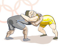 Olympic  toons -  Greco-Roman Stock Photography