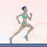 Olympic  toons -  Running. Olympic games theme Royalty Free Stock Image