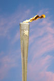 Olympic Torch. CAMBRIDGE, ENGLAND - JULY 7: Olympic flame burning at Parker's Piece in Cambridge during the Olympic Torch Relay ceremony. Close up of Olympic Royalty Free Stock Image