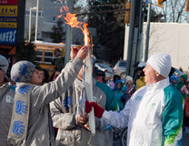 Olympic torch relay Stock Photos