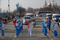 Olympic Torch Relay. Russia, Saint-Petersburg, 2008.04.05 Stock Image