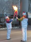 Olympic torch relay in Ekaterinburg, Russia Royalty Free Stock Photography