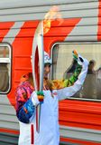 Olympic torch relay in Sochi, Tatyana Navka Royalty Free Stock Images