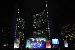 Olympic torch relay in Toronto. The stage for 2010 Winter Olympic torch relay in toronto Canada Stock Photos