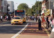 Olympic Torch Relay Vehicles and crowds, London Stock Image