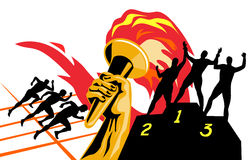 Olympic torch with runners. Vector art on the sport of boxing isolated on white Stock Photo