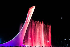 Olympic torch Russia Sochi. Russia Sochi Olympic torch dancing fountains at night Stock Photography