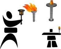 Olympic torches. Different Past Olympic torches and two character silhouettes Royalty Free Stock Photography