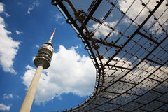 The Olympic tower in Munich in Germany. The Olympic tower on blue sky in Munich in Germany Royalty Free Stock Images