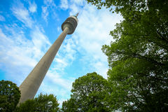 Olympic Tower in Munich. MUNICH, GERMANY - MAY 6, 2017 : A low angle view of the Olympic Tower through the treetop in the Olympic Park in Munich, Germany Royalty Free Stock Photo