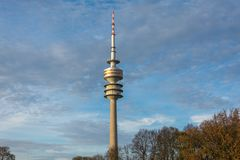 The Olympic tower in the Olympiapark in Munich, Germany during s Royalty Free Stock Image