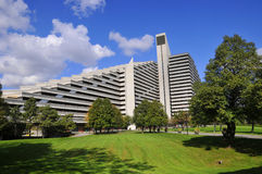 Olympic Village. MONTREAL,CANADA - OCTOBER 09: The Olympic Village is a twin-tower structure in Montreal, Quebec, Canada built as the athletes' residence for the Stock Images