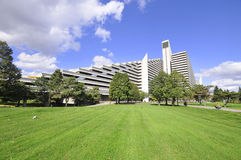 Olympic Village. MONTREAL,CANADA - OCTOBER 09: The Olympic Village is a twin-tower structure in Montreal, Quebec, Canada built as the athletes' residence for the Royalty Free Stock Photo