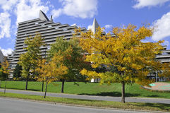 Olympic Village. MONTREAL,CANADA - OCTOBER 09: The Olympic Village is a twin-tower structure in Montreal, Quebec, Canada built as the athletes' residence for the Royalty Free Stock Image