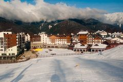 Olympic Village in the mountain cluster in the Olympics, Sochi Royalty Free Stock Images