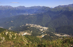 Olympic village in the mountains. Of Krasnaya Polyana Royalty Free Stock Image