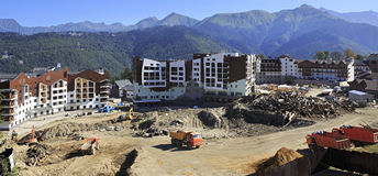 Olympic village in the mountains of Krasnaya Polyana (the final. Stage of construction Stock Images