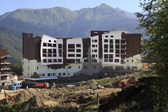 Olympic village in the mountains of Krasnaya Polyana. (the final stage of construction Stock Photo