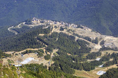 Olympic village in the mountains of Krasnaya Polyana. (the final stage of construction Royalty Free Stock Photo
