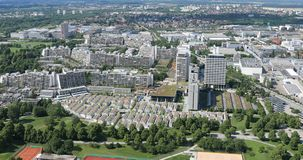 Olympic Village, Munich, aerial view stock footage