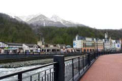Olympic village Roza Khutor, Sochi, Russia. 23/03/2018. Mountain stock images