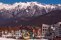Olympic village Sochi at the `Rosa Khutor` plateau. In April Stock Photography