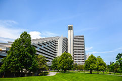 The Olympic Village is a twin-tower structure in Montreal. Montreal, Canada - June 18, 2017: The Olympic Village is a twin-tower structure in Montreal, Quebec Stock Photos
