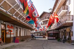 Olympic village with world flags in Sochi, Russia Stock Images
