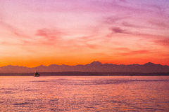An Olympic Washington Sunset over a Ferry Royalty Free Stock Photo