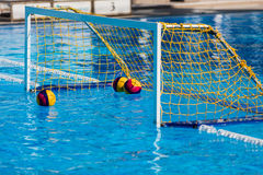 Olympic water polo goal gate. Water polo goal gate in olympic swimming pool Stock Images