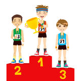 Olympic Winners. Young olympic sports men holding cup celebrating on the winners podium vector illustration