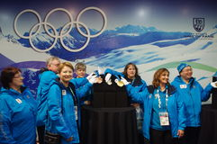 2010 Olympic Winter Games Olympic volunteers. During blue jacket reunion of the second anniversary of Vancouver games Royalty Free Stock Photography