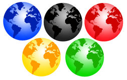 Olympic worlds. Planet earth in olympic colors Stock Image