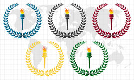 Olympic wreath with torch. The olympic wreath vector Illustrations vector illustration