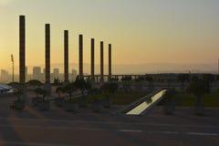 Olympicet Stadium av Barcelona på solnedgången, Spanien Arkivbilder